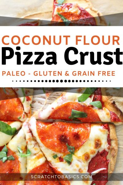 coconut flour pizza crust with cheese and pepperoni on a table