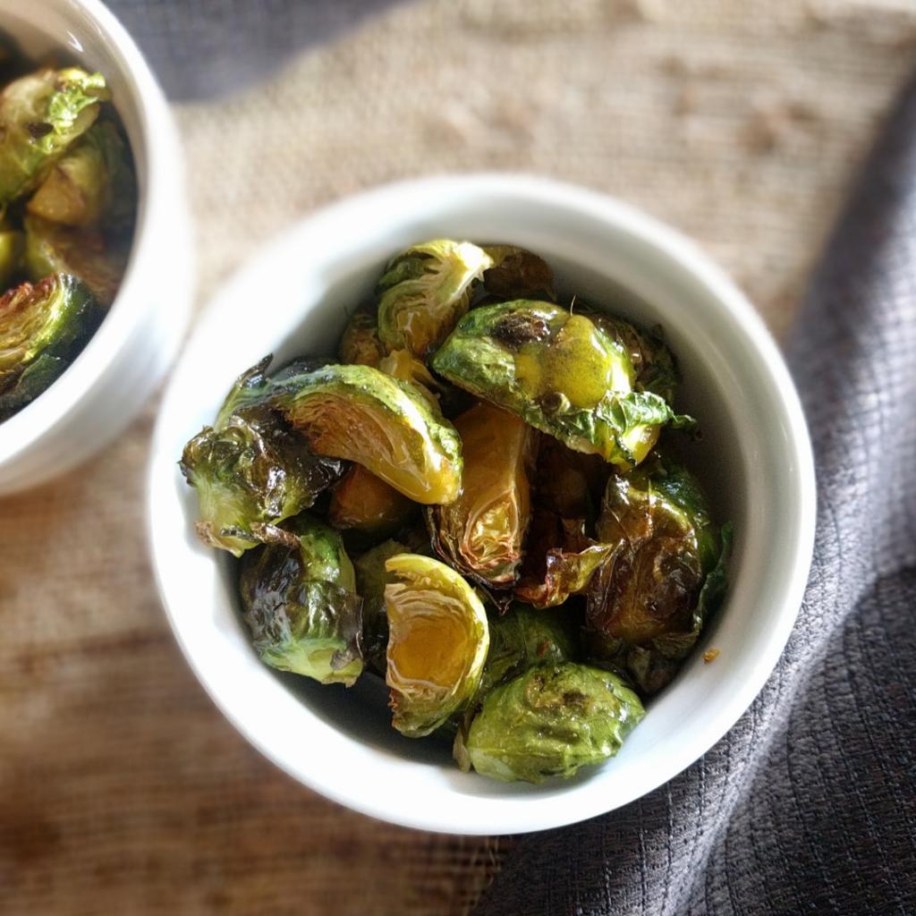 Brussels sprouts in ramekin, ready to eat.