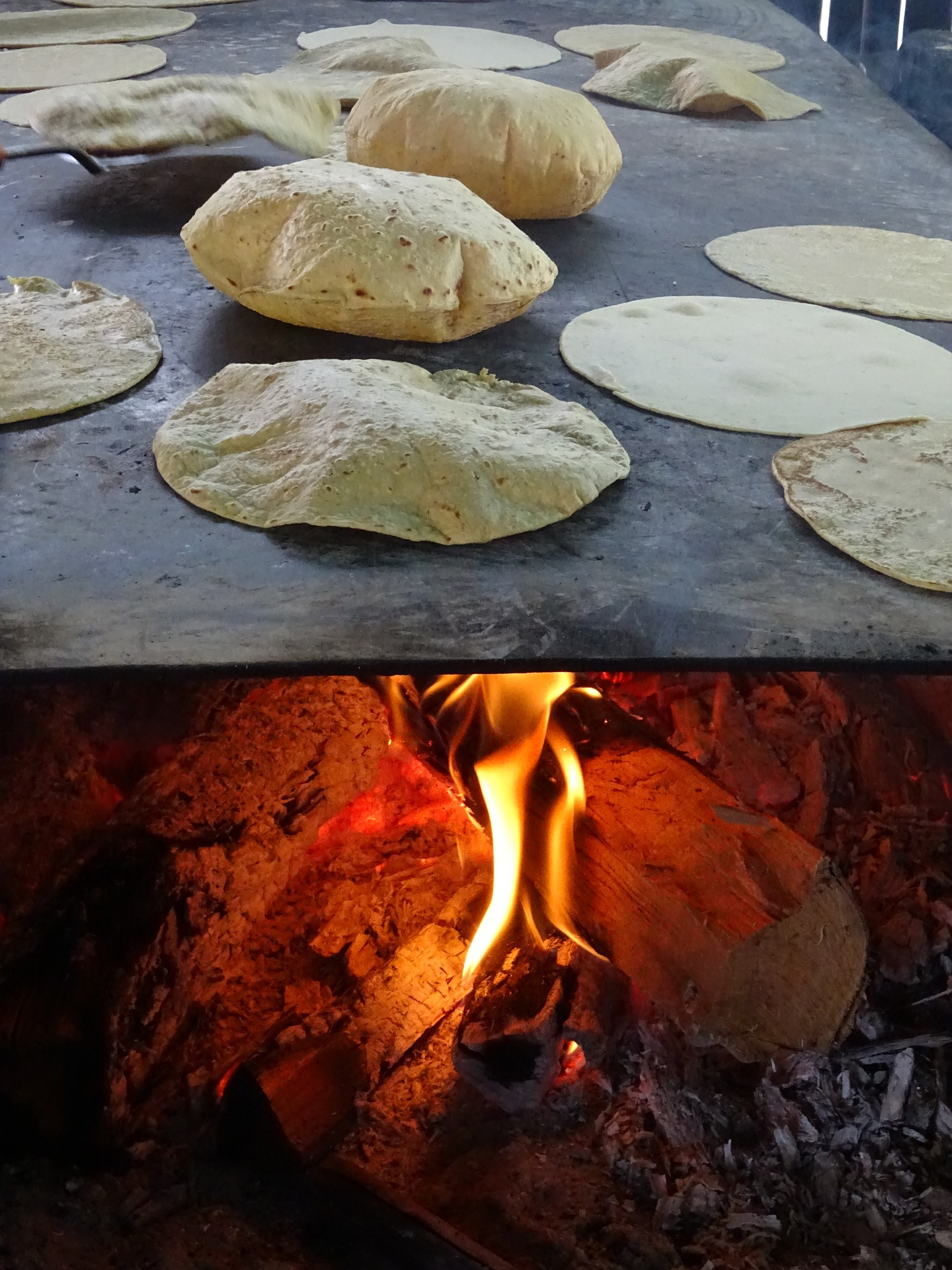 Tortillas cooking over a fire.
