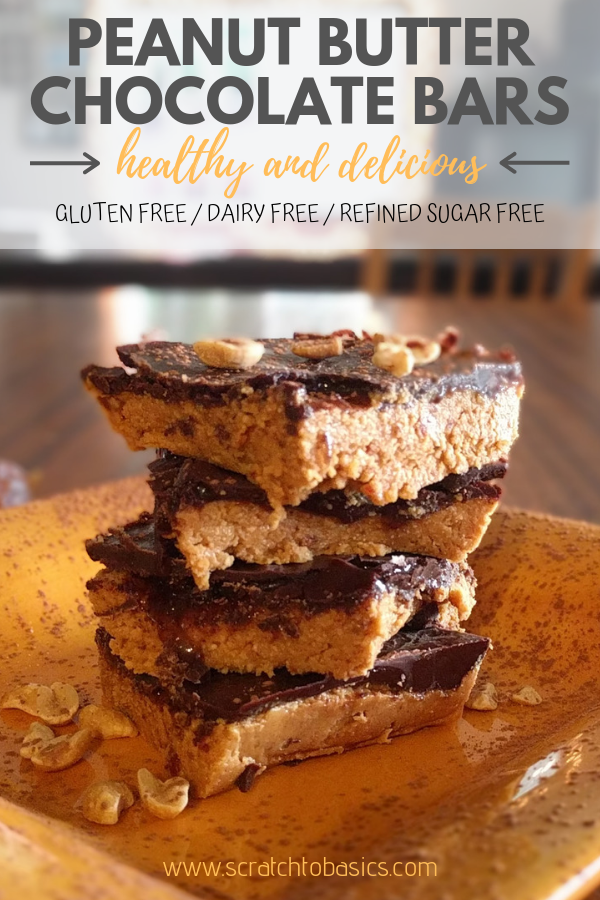 Peanut butter and chocolate go together beautifully in this healthy version of the peanut butter chocolate bar. You won't find any gluten, dairy, or refined sugars in these treats.
