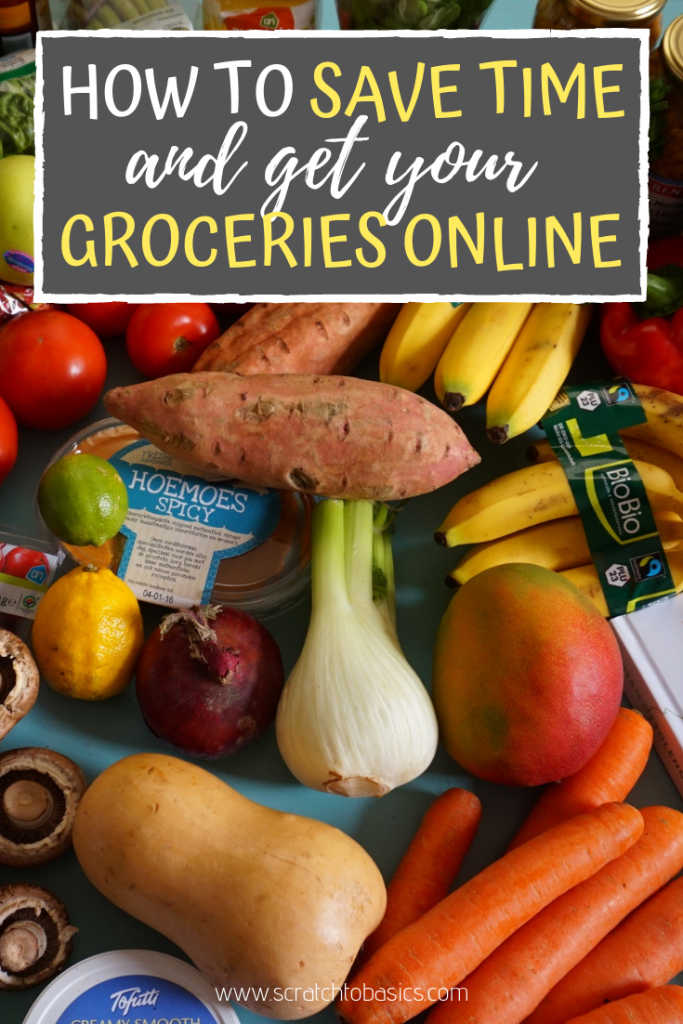 skip the store and get your groceries online. Basket of produce.