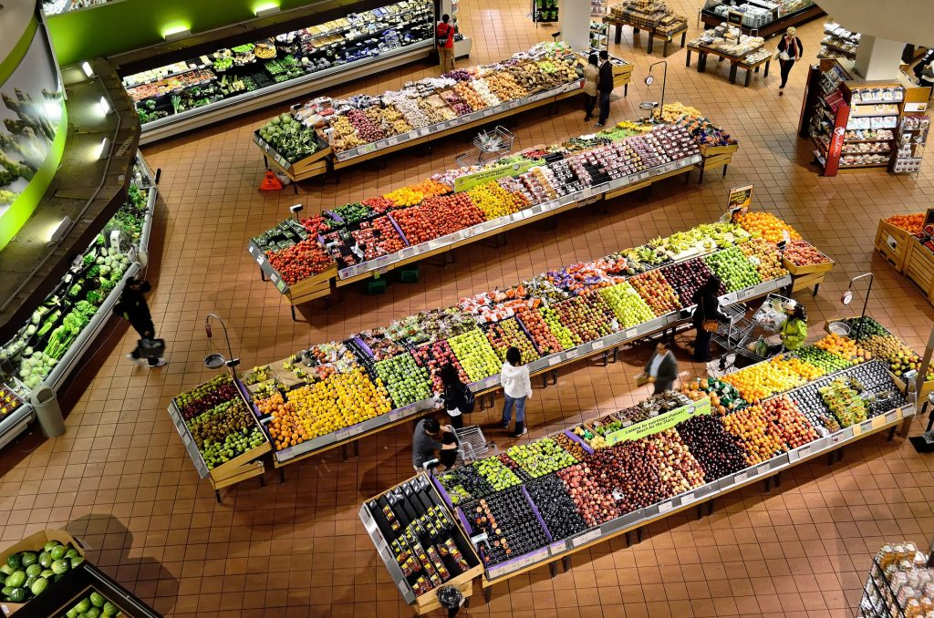 physical grocery store with many produce options