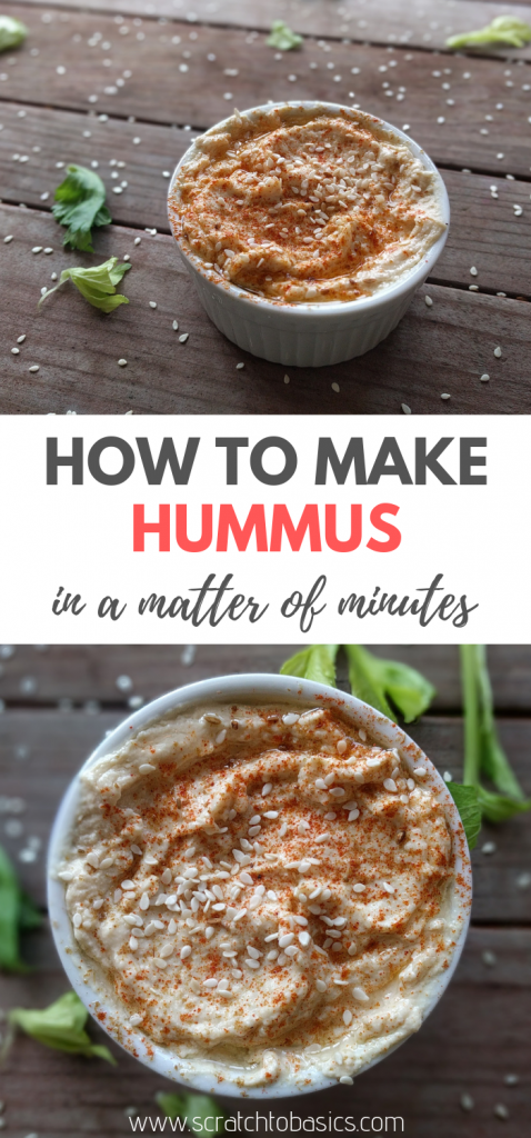 Making your own hummus at home takes minutes of your time and tastes delicious. Made with healthy ingredients, it will become a party favorite.