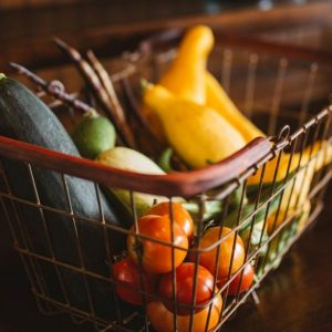 Produce in grocery basket
