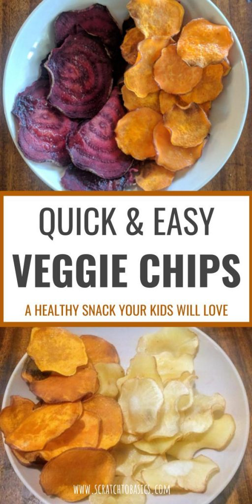 Veggie chips are a healthy snack you can make even easier with a mandoline slicer. These are kid friendly and are a great way to get your kids to eat more vegetables. Make your own beet chips, sweet potato chips, and parsnip chips from scratch.