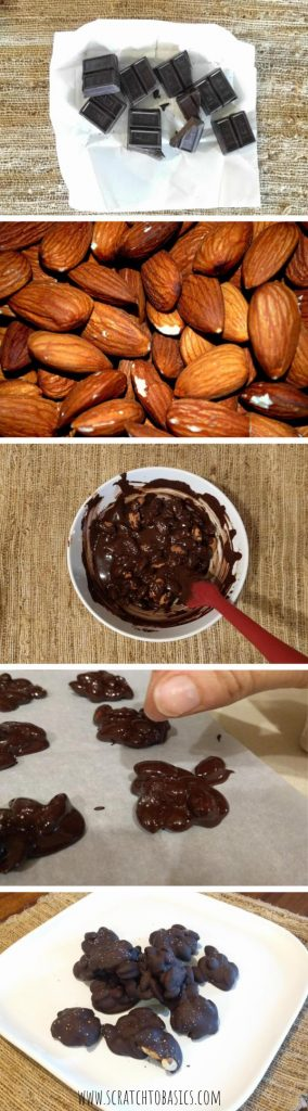 These dark chocolate almond clusters are so simple to make, and absolutely delicious! They're delicious topped with a little salt. A healthy snack or treat, great to grab on the go. #healthytreat #snack #chocolate #snackfromscratch #dairyfree