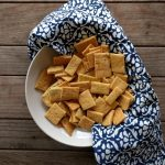 Homemade cheese crackers in bowl