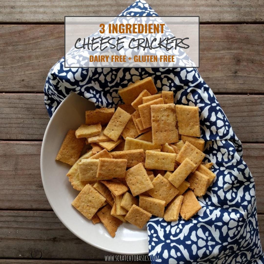 """Three Ingredient Homemade """"Cheese"""" Crackers"""
