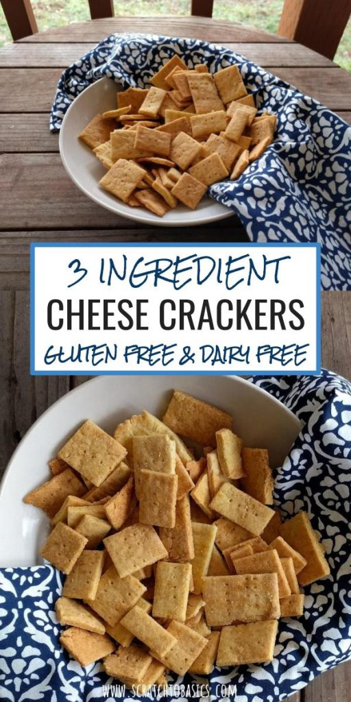 Three ingredient cheese crackers in bowl. Gluten free and dairy free.