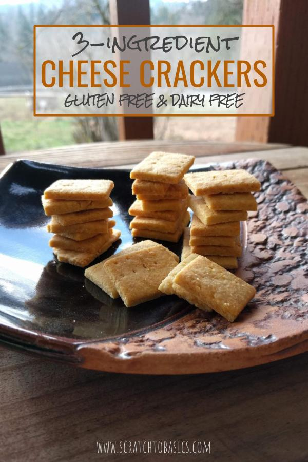 Homemade cheese crackers with only three ingredients. Gluten free and dairy free, they're a healthy snack for all ages that come together in twenty minutes.