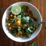 coconut chickpea curry in white bowl
