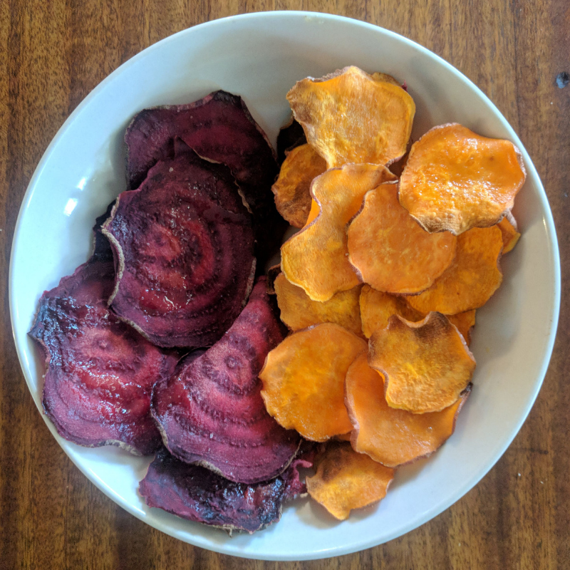 veggie chips in bowl - homemade
