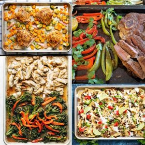 four sheet pan meals ready to serve