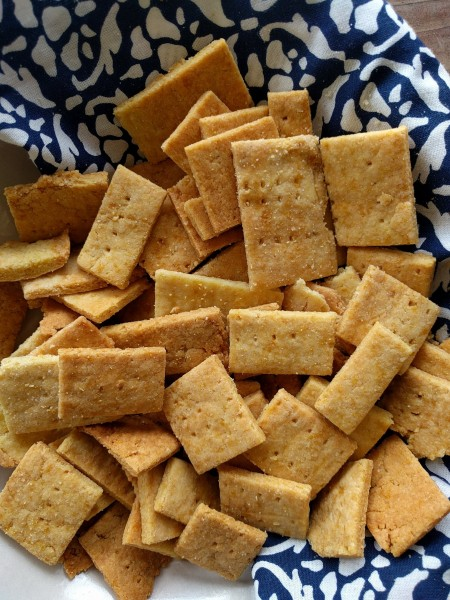 Close up view of homemade cheese crackers