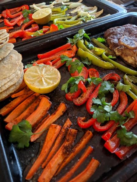 steak sheet pan fajitas after cooking