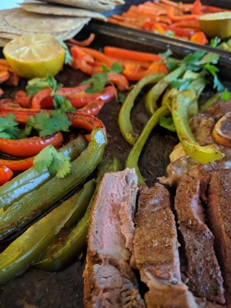 close up of sirloin steak on sheet pan