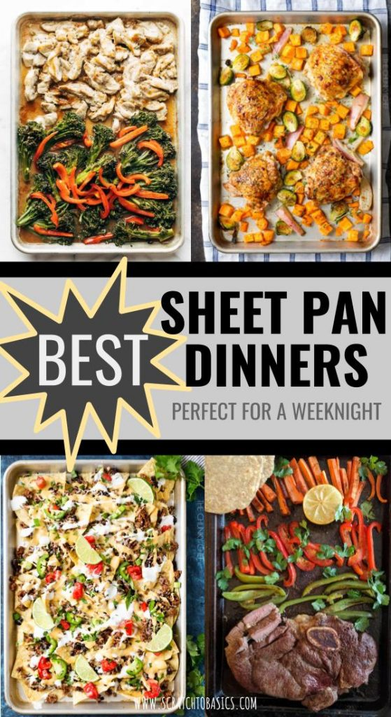 Four sheet pan dinners ready to serve.