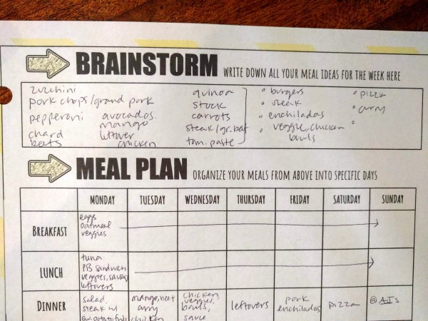"Picture of the ""brainstorm"" section of the meal planning template."