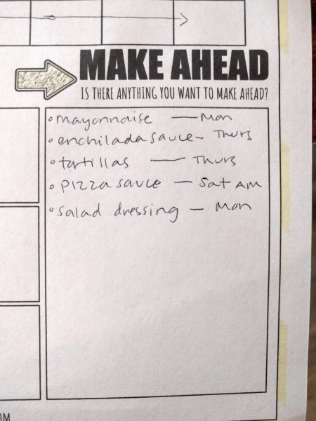 "Picture of the ""make ahead"" section on the worksheet"