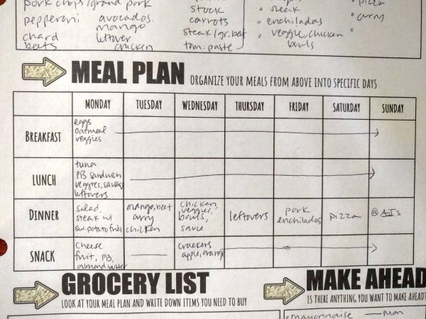 "Picture of the ""meal plan"" section to help plan a menu for the week."