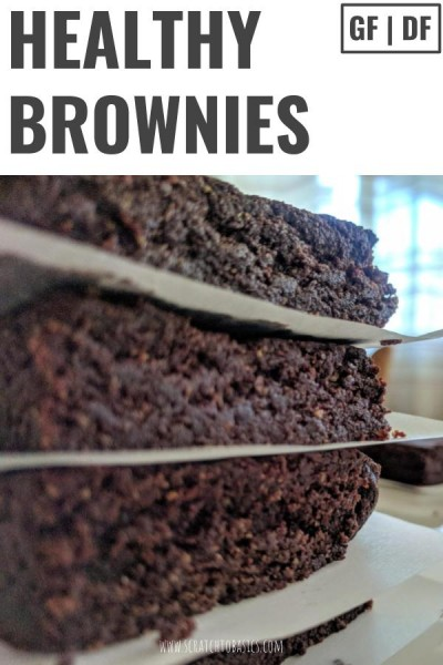Healthy brownies are gluten free and dairy free with picture of stacked brownie.