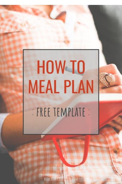 "A woman writing in her notebook, with ""how to meal plan - free template"" written on image."