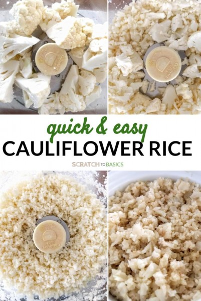 The four stages of cauliflower rice. Chopped into big pieces, partially riced, fully riced, cooked and ready to eat.