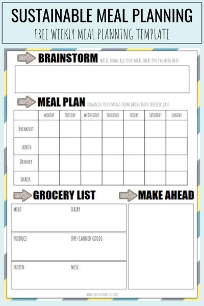 Sustainable meal planning - free weekly meal planning template.