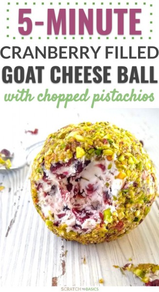 5 minute cranberry filled goat cheese ball with chopped pistachios