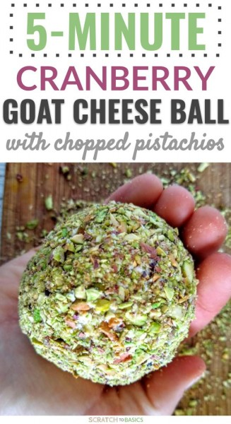 5 minute cranberry goat cheese ball with chopped pistachios