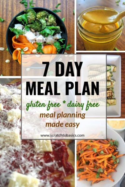 7 Day Meal Plan that's gluten free, dairy free, and refined sugar free. Meal planning made easy.