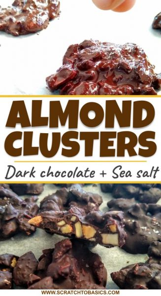 Dark chocolate almond clusters with sea salt in minutes.