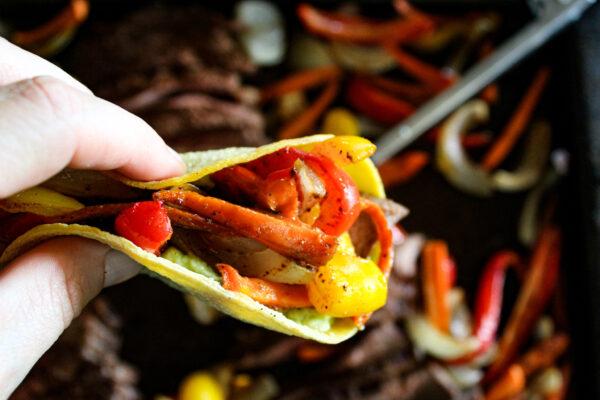 beef and veggie fajita in corn tortilla