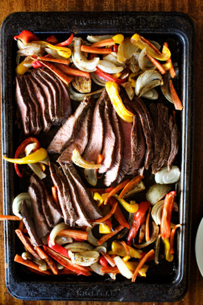 beef fajitas in the oven - cooked and ready to eat