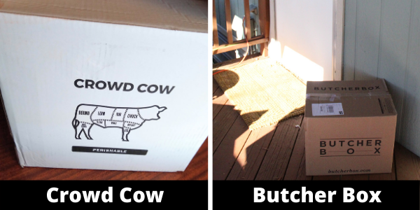 Crowd Cow and Butcher Box delivery boxes