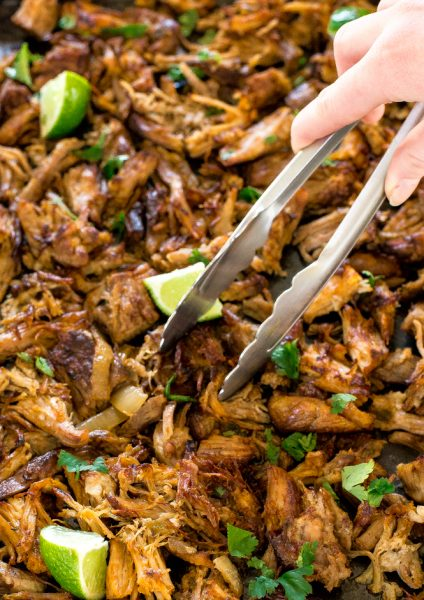 Crispy slow cooker pork carnitas from Chef Savvy.