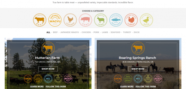 Crowd Cow works personally with over forty farms to provide farm fresh meat delivered to your door.
