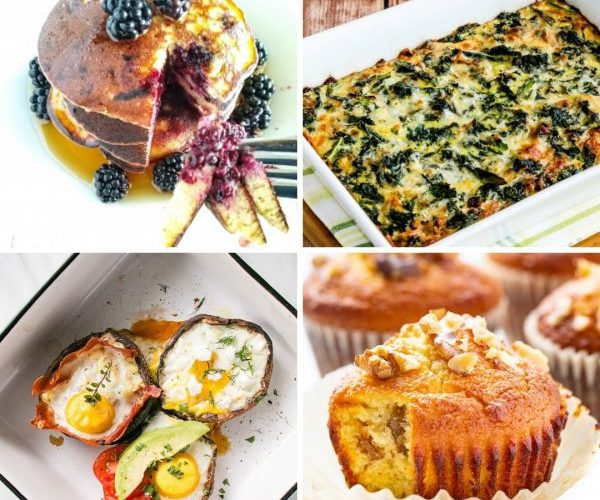 collage of breakfast food