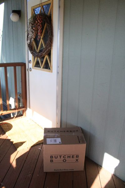 Butcher Box sitting at doorstep