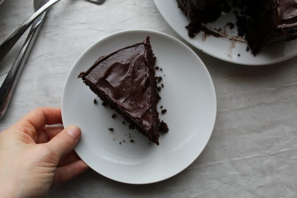 slice of Paleo chocolate cake
