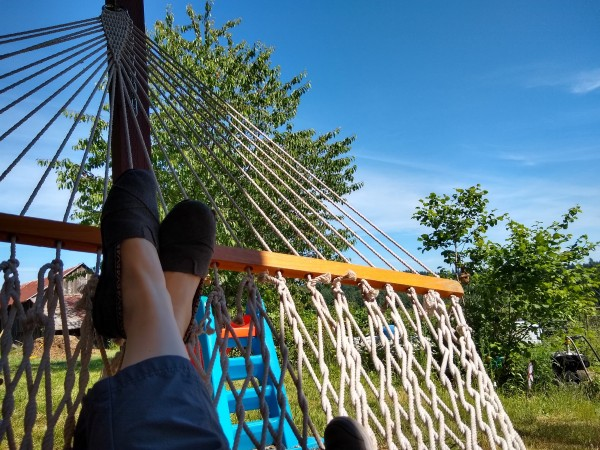 Relax on the hammock with a popsicle