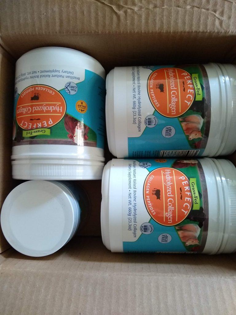 Box of collagen powder supplements