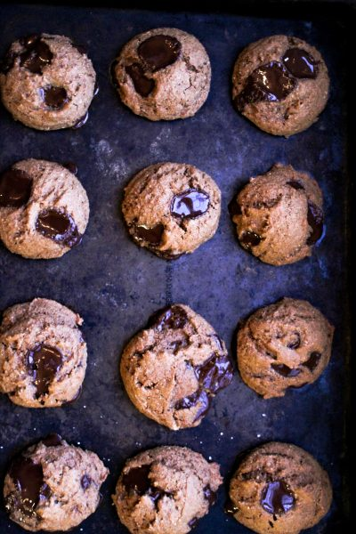 Baked Paleo ginger cookies on a cookie sheet