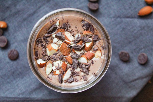 finished chocolate almond smoothie