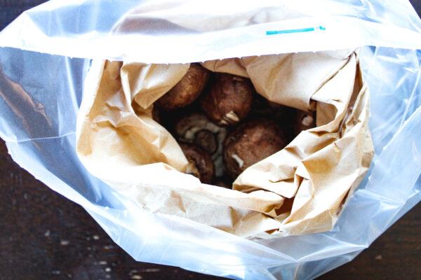 Peakfresh bag with paper bag & mushrooms inside