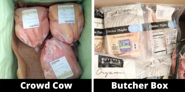 Frozen meat inside the Crowd Cow and Butcher Box boxes