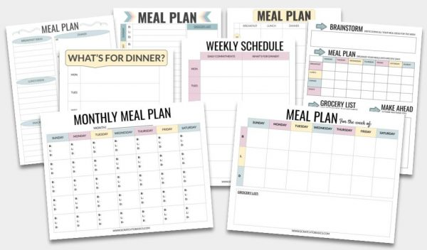 Meal planning templates