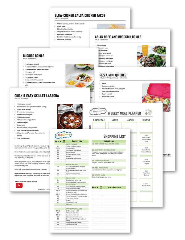 MOMables meal plan with shopping list