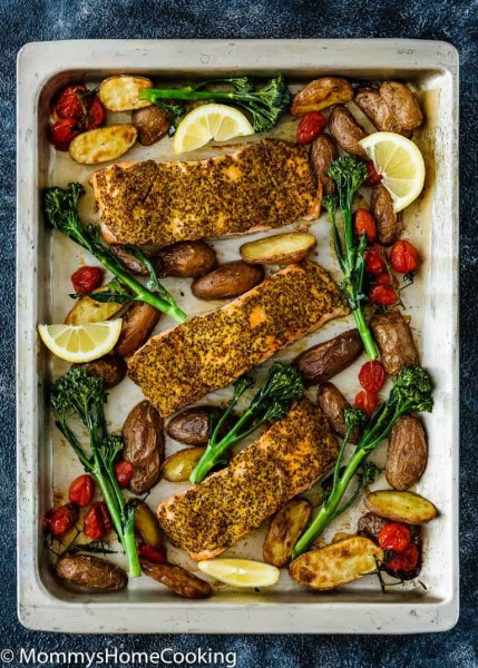 sheet pan mustard salmon dinner