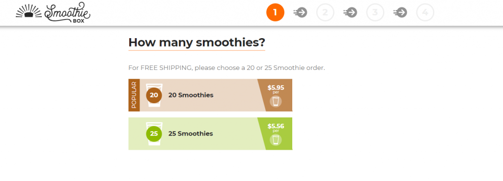 step 1 in SmoothieBox order